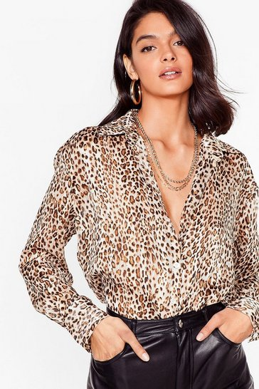 Brown You're Mine Meow Leopard Satin Shirt