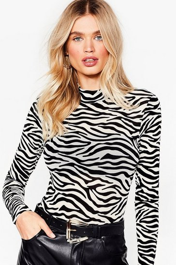 White Take Our Herd for It High Neck Zebra Bodysuit