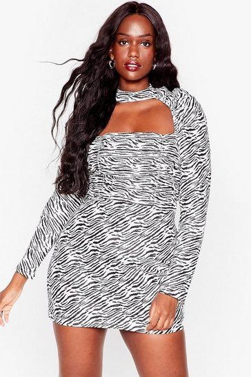 Black Get Wild Plus Zebra Mini Dress