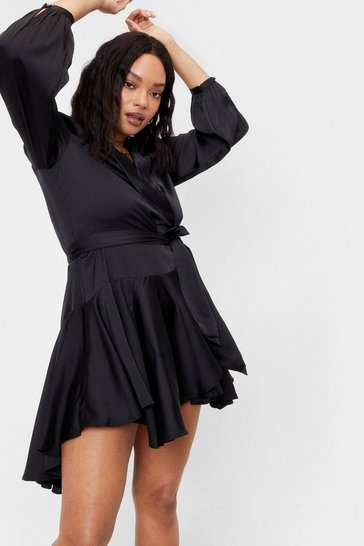 Black Hey Girl What's Satin-ing Plus Wrap Mini Dress