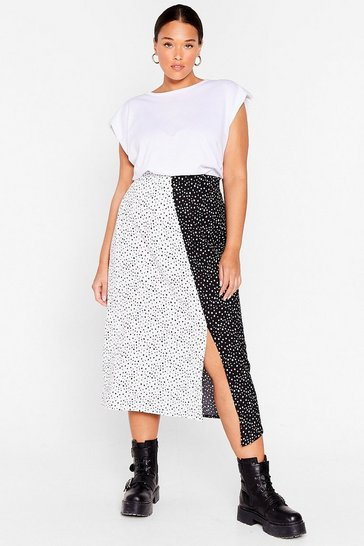 Black There's Been a Mix Up Plus Spotty Midi Skirt
