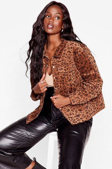 Brown Spot Me if You Can Plus Leopard Corduroy Jacket