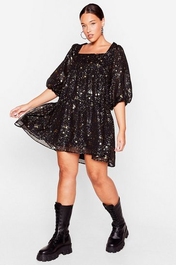 Black Star Light Plus Mini Dress