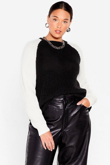 Black Plus Size Two Tone Knitted Sweater