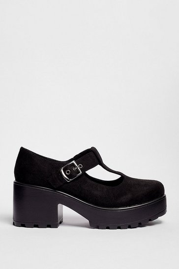 Black Raise the T-Bar Faux Suede Platform Shoes