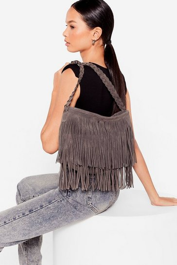 Grey WANT Faux Suede a Promise Fringe Crossbody Bag