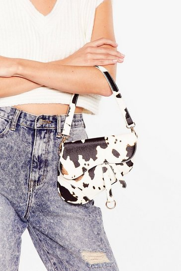 White WANT Saddle Up Cow Faux Leather Crossbody Bag