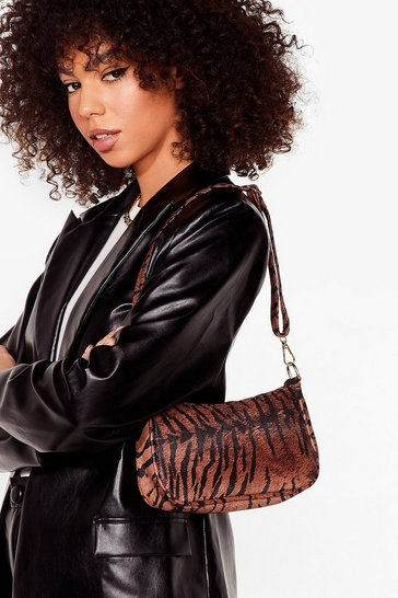 Brown WANT Act Fierce Tiger Shoulder Bag
