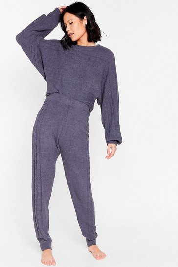 Charcoal Chenille Sweater and Sweatpants Pajama Set
