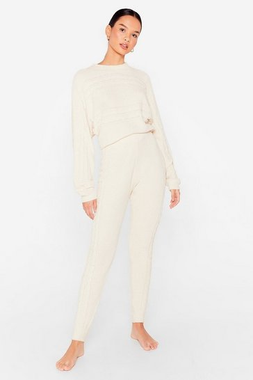 Cream Chenille the Love Relaxed Sweater and Joggers Pajamas Set