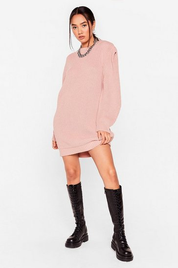 Rose No Shoulder Pad Vibes Petite Sweater Dress