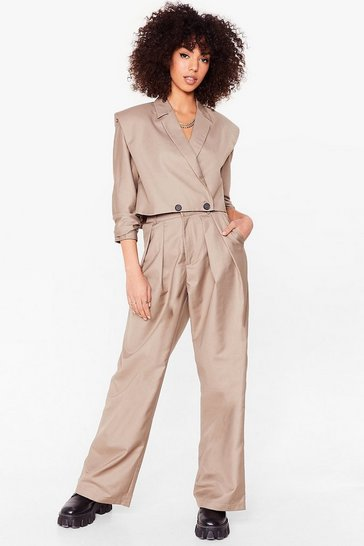 Stone Pleated Wide Leg Suit Pants