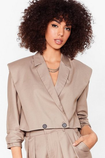 Stone Down to Business Shoulder Pad Cropped Blazer
