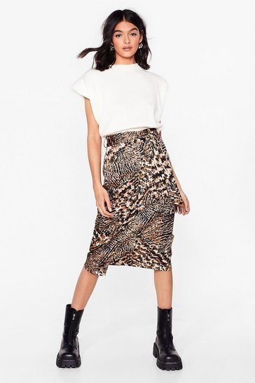 Brown Bold Moves Animal Belted Midi Skirt