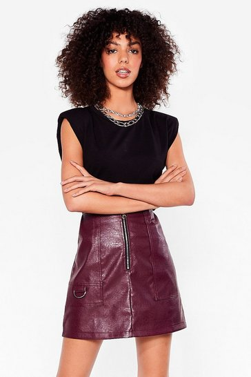 Dark red D-Ring It On Faux Leather Mini Skirt