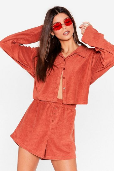 Rust Towelling Cropped Shirt and Shorts Cover-Up Set