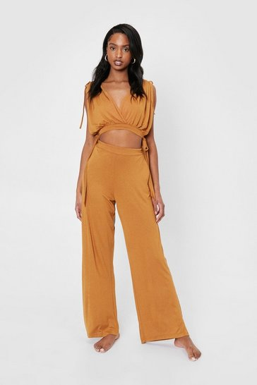 Tan V Neck Crop Top and Wide Leg Pants Cover Up Set