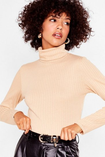 Nude Such a High Roller Ribbed Knit Top