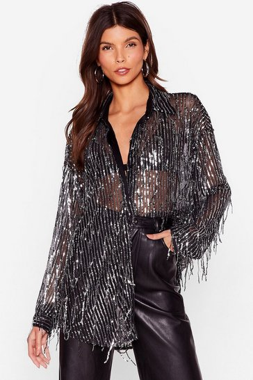 Black All That Glitters Sequin Tassle Shirt