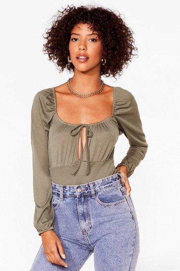 Khaki Sweet On You Bodysuit