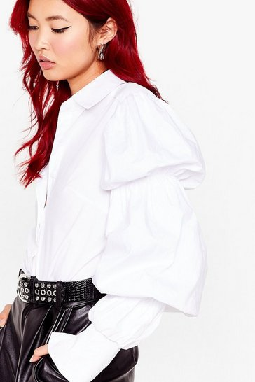 White Strut Your Puff Sleeve Button-Down Shirt