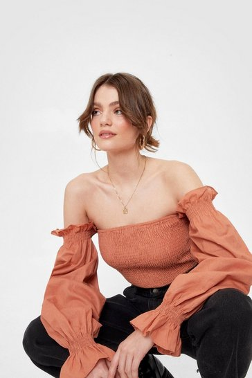 Rust Just For the Frill of It Shirred Cropped Blouse