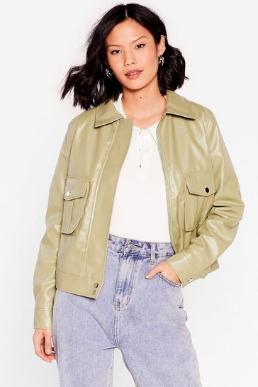 Sage Pocket Straight to It Faux Leather Jacket