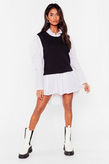 Black Layer All Your Love Puff Sleeve Shirt Dress