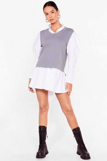 Grey Layer All Your Love Puff Sleeve Shirt Dress