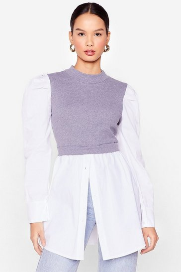 Grey Layer Some Ground Rules High Neck Shirt Dress