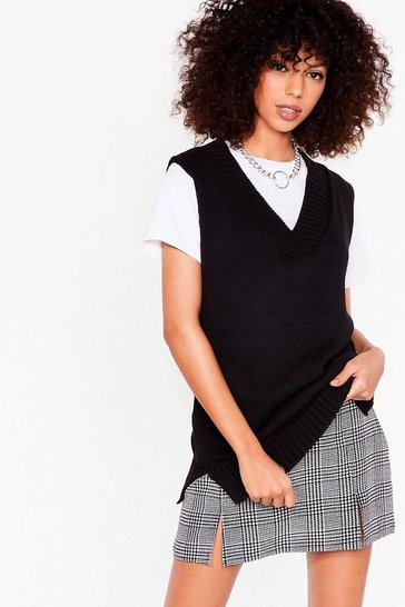 Black Tell Us About Knit V-Neck Knitted Tank Top