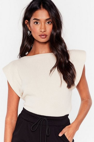 Beige Knit's No Big Deal Shoulder Padded Tank Top