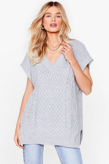 Grey Link About It V-Neck Knitted Tank Top