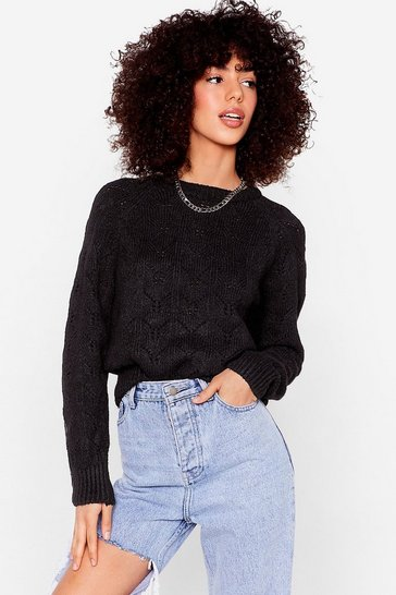 Black Make Your Pointelle Relaxed Knit Sweater