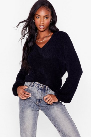 Black It's Clear to V-Neck Fluffy Knit Jumper