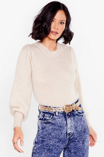 Beige Puff Sleeve Fluffy Knit Sweater