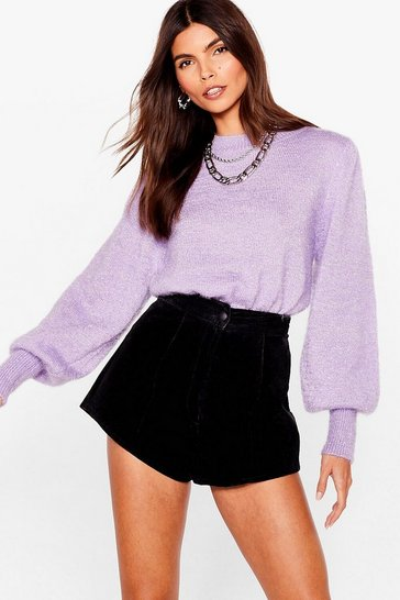 Lilac Puff Sleeve 'Em to Knit Relaxed Sweater