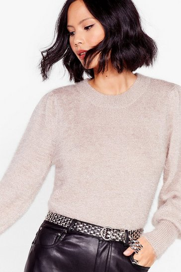 Taupe Puff Sleeve 'Em to Knit Relaxed Sweater