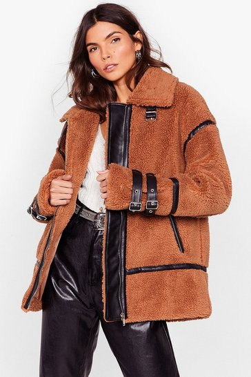 Camel pu trimmed teddy faux fur coat