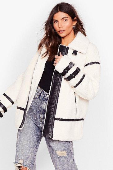 Cream pu trimmed teddy faux fur coat