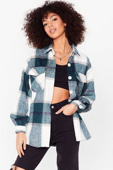 Green All Checked Out Oversized Wool Jacket