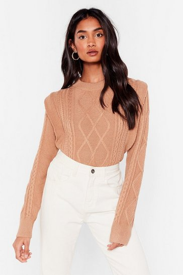 Camel Stride Over the Shoulder Pad Times Knitted Sweater