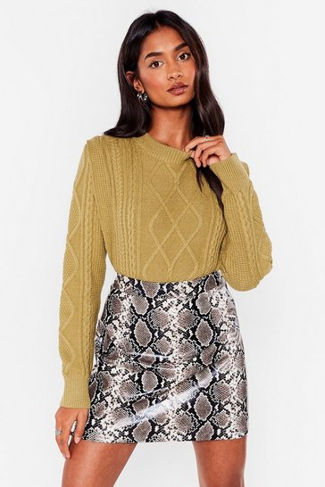 Green Stride Over the Shoulder Pad Times Knitted Sweater