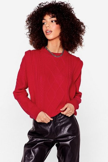 Red Knit's a Good Choice Shoulder Pad Sweater