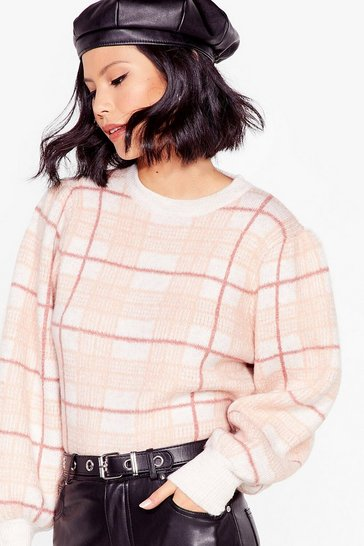 Pink Checking Back Later Knit Balloon Sleeve Sweater