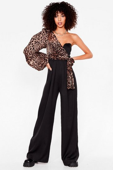Black Find Your Wild Leopard Wide-Leg Jumpsuit
