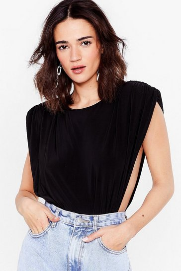 Black Let's Slink About It Petite Shoulder Pad Bodysuit
