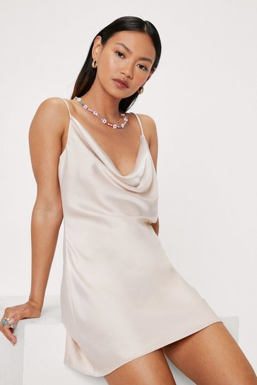 Champagne Petite Satin Cowl Neck Mini Dress