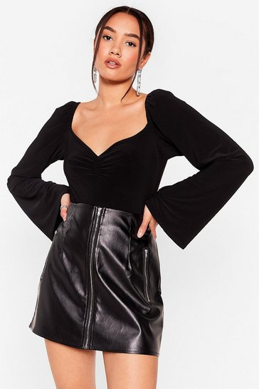 Black Slinking About Us Petite High-Leg Bodysuit