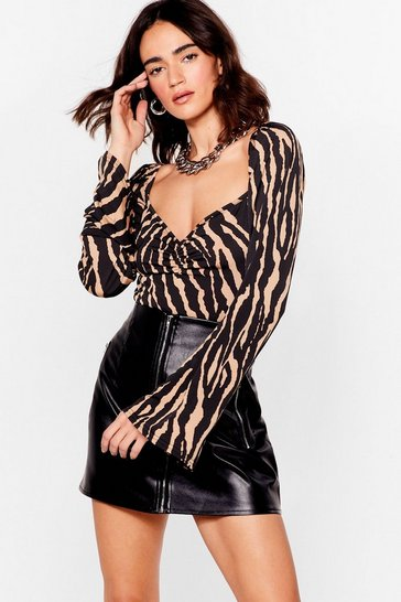 Brown We Herd the News Petite Zebra Bodysuit